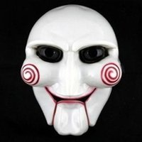 Wholesale popular cosplay resale online - New Halloween party costumes cosplay Billy Jigsaw Saw puppet mask popular fancy dress costumes props