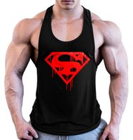 c80cc233d7736 Wholesale blank tank tops online - 2019 superman Printing musculation gym  vest bodybuilding clothing and fitness