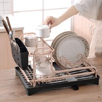 Wholesale smartloc Aluminium Alloy Dish Rack Kitchen Organizer Storage Drainer Drying Plate Shelf Sink Supplies Knife and Fork Container