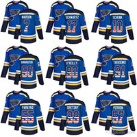 Wholesale usa hockey for sale - Group buy 2019 St Louis Blues Ryan O Reilly Vladimir Binnington Authentic Blue USA Flag Fashion hockey jersey
