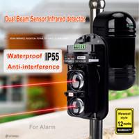 detectores de feixe infravermelho venda por atacado-20 M ~ 150 M Dual Beam Sensor fotocélulas Ativo Detector de Intrusão Infravermelho Janela de Segurança Barreira de Parede IR Ao Ar Livre Alarme de Movimento