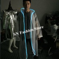 Wholesale club singer clothing online - M59 LED lighted rainwear party singer wears led costume luminous glowing raincoat dj show dress clothe bar performance outfit ds club wear