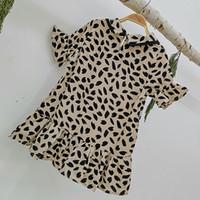 vestidos da menina da cópia do leopardo venda por atacado-Varejo bebê meninas leopardo vestido de impressão de manga curta gola da boneca saias bebê casual dress crianças designer de roupas da moda roupas infantis