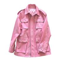 rosa koreanische jacke großhandel-Frauen Pelzmantel 100% Schaffell Mantel Echte Echte Lederjacke Frauen Kleidung 2019 Rosa Korean Elegante Weibliche Jacke ZT2229