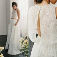 Wholesale two piece wedding dresses for sale - Group buy 2020 Beach Two Piece Wedding Dresses Bohemian Jewel Neck Full Lace Keyhole Sleeve Country open back Bridal Gown With Pockets Feather