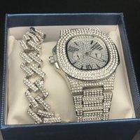 elegantes cadenas para hombres al por mayor-collar de cadena de joyería de hip hop estilo del reloj de oro de lujo collar Conjunto de Conjunto de reloj de diamantes de los hombres hacia fuera helado colgante de los hombres de la roca