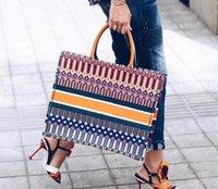 doppelgewebe großhandel-2019 mode Bunte jacquard leinwand handtasche einkaufstasche leinwand stoff doppelgriff design große schultergurt Große kapazität crossbody