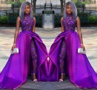 trajes de vestido de mulher e roxo venda por atacado-2020 Suits Partido Africano roxo macacões Prom Vestidos com trem destacável alta Neck Lace Appliqued Bead Evening vestidos de Luxo Mulheres Pant