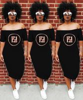 vestidos de pescoço venda por atacado-Mulheres verão Slash Pescoço Vestidos Sexy Lantejoulas Senhora Cartas Impresso Roupas Clube Vestidos de Rua Soltos