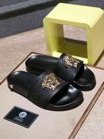 Wholesale sliding button for sale - Group buy 2019 Rubber Slide Sandal Slippers Stripe Fashion brand Designer Men Classic Summer Flip Flops leather slippers men