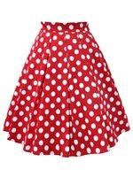 kırmızı polka noktaları tutu toptan satış-Toptan Kadınlar Pamuk Yaz Etek Kırmızı Siyah Beyaz Polka Dot Yüksek Bel Vintage Tutu Patenci faldas mujer Rahat Salıncak Midi Etekler