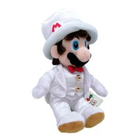 vestidos de roupas brancas venda por atacado-Ems mario super mario sentado mario com vestido branco 23 cm plush doll melhor presente de pelúcia brinquedo macio