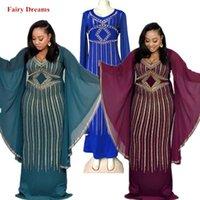 blaue diamantkleidung großhandel-Afrikanische Partei Maxi Kleider Frauen Diamanten Perlen Afrika Kleidung Lady Dashiki Grün Blau Lila Langes Kleid Chiffon Fairy Dreams
