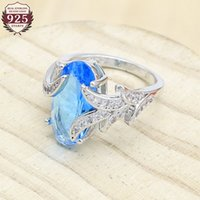 Wholesale geometric rings for sale - Group buy Geometric Sky Blue Semi precious Silver Ring for Women Wedding Jewelry Birthday Gift