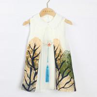 юбка qipao оптовых-Детская принцесса для девочек в стиле Qipao, комплекты, детские ретро Cheongsam Tang, костюм для детей из чистого хлопка, костюм Han 2-7 лет