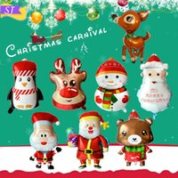 Wholesale pink brown balloons resale online - Christmas aluminum film balloon combination Merry Christmas snowman set home decoration party supplies printing balloon