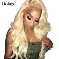 peluca color 613 al por mayor-150% Rubia 360 de encaje frontal peluca Pre Plucked Body Wave 613 Rubia de encaje frente peluca de color pelucas de cabello humano para mujeres negras