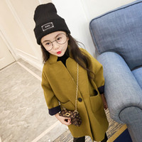 ingrosso giacca coreana del capretto ragazza-bambini vestiti cappotto di lana ragazze ispessimento caldo cloth2019 autunno e inverno nuovi coreani abbigliamento per bambini ragazze giacca lunga giacca di lana