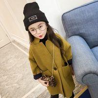 ingrosso vestiti di lana per le ragazze-bambini vestiti cappotto di lana spessa caldo cloth2019 autunno e inverno nuovi bambini coreani abbigliamento ragazze lunghe sezioni giacca di lana