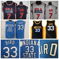 takım usa gömlek toptan satış-Erkek Larry Bird Jersey 33 Yüksek Kalite Indiana Eyalet 1992 Rüya Takım ABD Larry Bird Koleji Basketbol Forması 7. Dikişli Gömlek S-XXXL