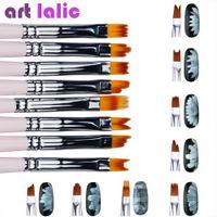 Wholesale 3d drawing color pens resale online - 8pcs Smile Moon Shaped Acrylic French Nail Art Brush Set UV Gel Polish Gradient Color Tips D DIY Painting Drawing Liner Pen