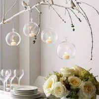 mikrobehälter groihandel-18pcs Ball Clear hängende Glaskugel-Form-Vase Blumen Pflanzen Terrarium Vase Container Micro Landschaft Hochzeit Home Decoration