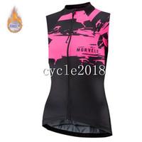 frauen fahrradbekleidung großhandel-2019 Morvelo Damen Winter Radtrikot ärmelloses Fahrradtrikot Thermovlies Ropa Roupa De Ciclismo Mtb Clothing Pink