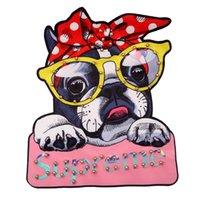 jacke jeans perlen großhandel-bedruckte Hundepatches aus Perlen für Jacken, mit Pailletten bestickte, applizierte Perlenabzeichen für Jeans, Aufnäher für Bekleidung