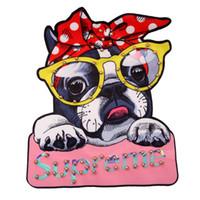 jaqueta jeans contas venda por atacado-Patches de cão com contas impressos para jaquetas, bordados de lantejoulas apliques de miçangas emblemas apliques para jeans, remendos para roupas