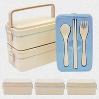Wholesale Wheat Straw Lunch Box With Handle Large Capacity Laryers Bento Box Microwave Dinnerware Food Storage Container Lunchbox OOA6074