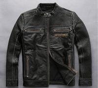 vintage schädel lederjacke großhandel-Gutes Feedback Vintage schwarz AVIREXFLY 100% echtes Leder Jacke Schädel Eagle Wings Motorrad Lederjacken