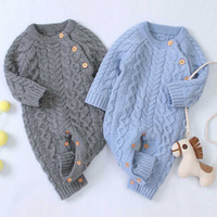 Wholesale knitting baby boy clothes resale online - Infant Baby Boys Girls Rompers Clothes Children Baby Boy Girl Kids Shoulder Button Knitting Long Sleeve Pure Color Rompers