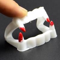 Wholesale fake teeth props resale online - Vampire Fake Teeth Dracula Teeth Halloween Freak Monster Zombie Novelty Masquerade Cosplay Costume Prop Horror Party Supplies