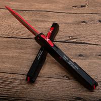 mejor cuchillo de camping pequeño al por mayor-Nueva Munroe Cypher MT D / A D2 Cuchilla de aluminio Rojo exterior Personalizado Automático 122 121 Cuchillos tácticos