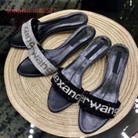ingrosso chiodo della caviglia-Sandali donna tacchi gattino scarpe chic brillantini per unghie e lettere modello temperamento scarpe femminili 2 colori taglia 35-39