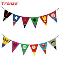 mutlu yıllar bayrak bayrağı toptan satış-Tronzo 2.2 M Mutlu Doğum Günü Partisi Bayrakları Avengers Parti Süslemeleri çocuk Günü Malzemeleri Için Süper Kahraman Afiş Doğum Günü Favor