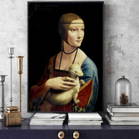 Wholesale wall art reproduction resale online - The Lady With An Ermine Canvas Art Paintings Reproductions On The Wall By Leonardo Da Vinci Famous Canvas Wall Art Home Decor