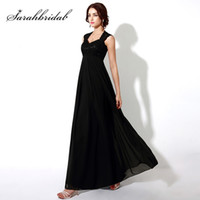 Wholesale long evening simple skirt dress for sale - Group buy Simple Black Long Prom Dresses Top Lace Empire Chiffon Skirt Evening Party Gowns New Arrival Women Dress Cheap In Stock OS190