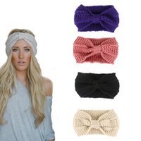 Wholesale pink knot resale online - Fashion Winter Warm Women Crochet Headband Solid Color Bow Knot Knitted Ear Warmer Headwrap Hair Band
