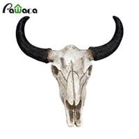 figurines artesanales metalicas al por mayor-Resina Longhorn vaca cabeza del cráneo colgar de la pared Escultura 3d decoración animal de la fauna Figuras Crafts cuernos Para el hogar Decoración de Halloween J190712