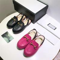 zapatos de la escuela de cuero genuino de las niñas al por mayor-Diseñador de zapatos para niños de lujo de cuero genuino rosa rosa sandalias negras para niños escuela calzado cómodo sandalia de moda para niños niñas