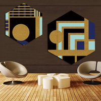 gemälde für hotelzimmer großhandel-Leinwand Bilder Home Decor Gemälde Nordic Hexagon Farbe Geometrische Grafiken Wand Kunstdrucke Poster Hotel Modular Wohnzimmer