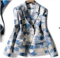 European and American high quality fashion temperament jacquard printed lapel long sleeve blazer