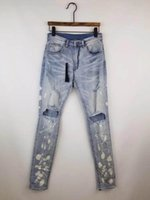 ingrosso candeggina jeans bianchi-Uomini casuali splatter macchie bianche Bleach magro lt blue jeans