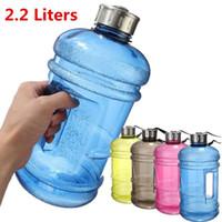 ingrosso grandi bottiglie di plastica-Quevinal portatile 2.2L BPA libero di plastica grande grande capacità palestra sport bottiglia d'acqua all'aperto bici bicicletta campeggio ciclismo bollitore