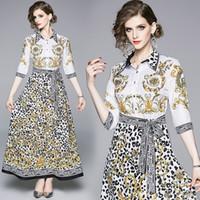 vestidos de festa europeus venda por atacado-Senhora Vestido de Moda Europeu Imprimir Leopardo Uma Linha Elegante Festa Prom Wedding Evening Maxi Camisa Vestido 8052