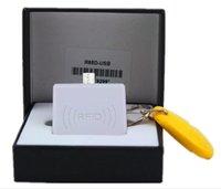lectores de tarjetas de proximidad al por mayor-20 Sets 125 KHz Portátil Android Lector OTG RFID Sensor de proximidad de tarjeta inteligente Micro Mini USB Lector RFID para TK4100 EM4100 nave rápida con LED