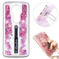 Wholesale e flow resale online - For Samsung S10 E Plus J2 Core S8 S9 Plus S6 S7 Edge Flowing Liquid Glitter Quicksand Ring Buckle Shock Absorbing Kickstand Soft Bumper Case