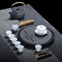 tazones de cerámica al aire libre al por mayor-La bandeja de té de cerámica japonesa de kung fu de juego de té de drenaje circular seco de burbujas de té de personalización de logotipo