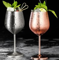 Wholesale thermo glasses resale online - Wine Glasses Stainless Steel cocktail cups Goblet Vacuum Double layer thermo cup Drinkware Wine Glasses Red Wine Mugs GGA1844